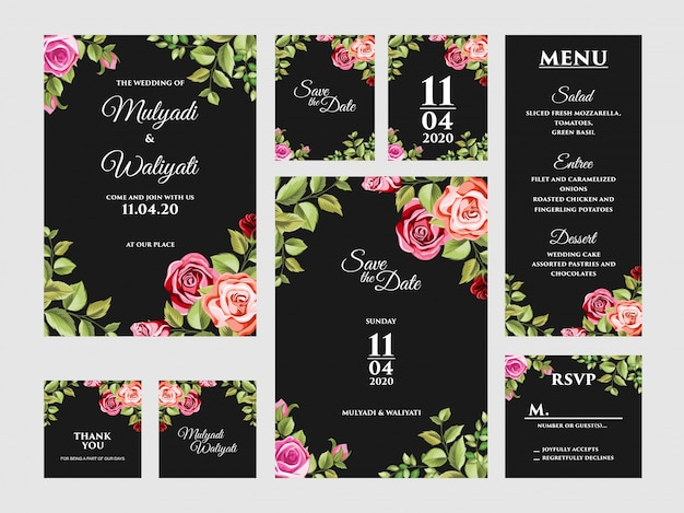 Complete floral wedding invitation card design template set