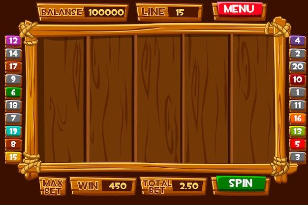 スロットマシンの完全なインターフェイスメニュー。ゲームのアイコンとボタンが付いた木製のメニュー。
