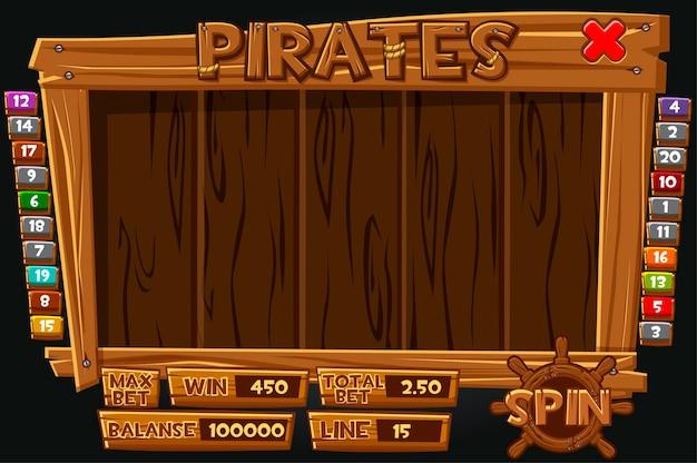 スロットマシン用の完全なインターフェース海賊版メニュー。ゲームのアイコンとボタンが付いた木製メニュー。