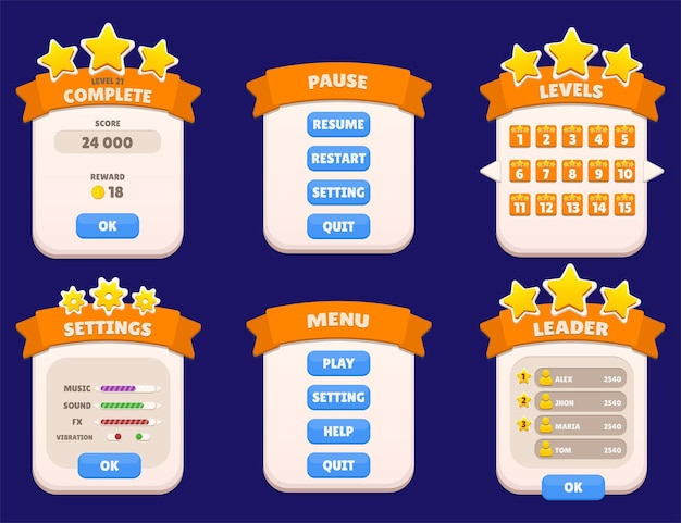 Завершить главное меню, установить паузу, уровень лидера, доски лидеров, всплывающие звезды и кнопки, игровой интерфейс