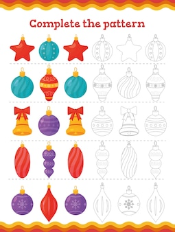 Complete the pattern toddler education games with christmas tree decoration. preschool or kindergarten christmas worksheet.