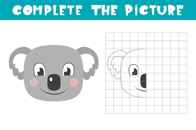 Complete the picture of a koala. copy the picture. coloring book. children art game for activity page.