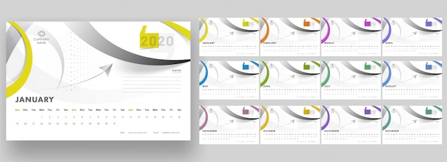 Complete set of 12 months for 2020 yearly calendar  with abstract geometric .