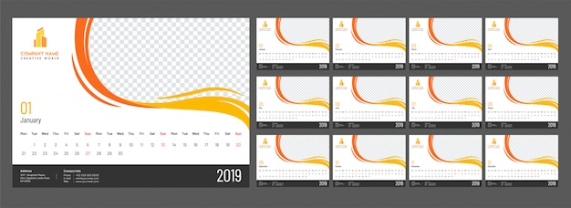 Complete set of 12 months, yearly calendar design for 2019 with