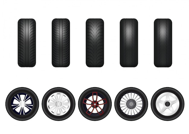 Complete set of car wheels with alloy rims.