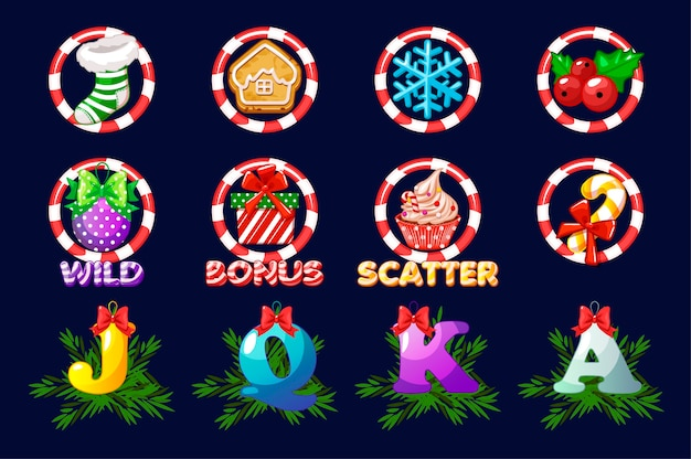 スロットの完全なセットのクリスマスアイコン。別のレイヤーのカジノスロットゲームのベクトルアイコン。アセット2dゲーム