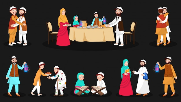 Complete set of happy muslim characters on the festival occasion