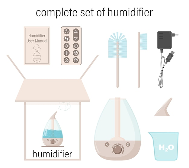 Complete set of humidifier. box, instructions, container, lid, brushes, electric cord, control panel. Premium Vector