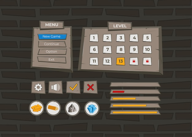 Complete set of level button game pop-up, icon, window and elements for creating medieval rpg video games