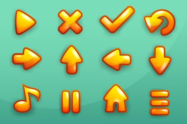 Complete set of level gold frame button game pop-up, icon, window and elements for creating medieval rpg video games