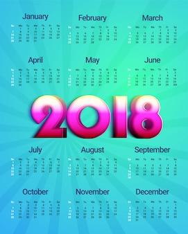 Complete Set of 12 Months, 2018 Calendar.
