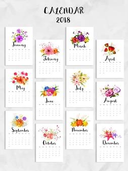 12ヶ月の完全なセット、2018カレンダー。