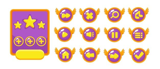 중세 rpg 비디오 게임을 만들기위한 완전한 레벨 버튼 게임 팝업, 아이콘, 창 및 요소 세트