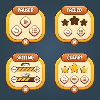 레벨 버튼 게임 팝업, 아이콘, 창 및 요소의 완전한 세트