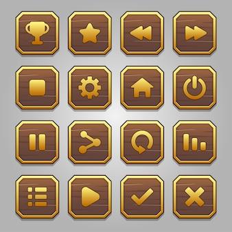 레벨 나무 및 골드 프레임 버튼 게임 팝업, 아이콘, 창 및 요소의 완전한 세트