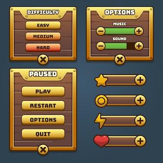 メニューボタンゲームのポップアップ、アイコン、ウィンドウ、要素の完全なセット