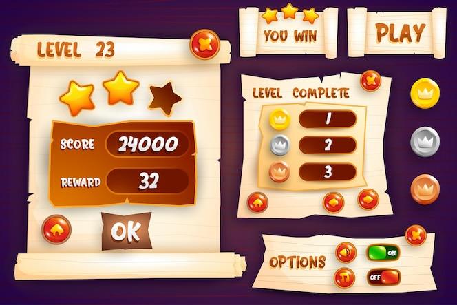 中世のrpgビデオゲームを作成するためのスコアボタンゲームのポップアップ、アイコン、ウィンドウ、要素の完全なセット
