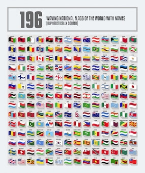 Complete set of waving national flags of the world