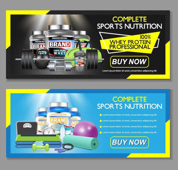 Complete sports nutrition Premium Vector