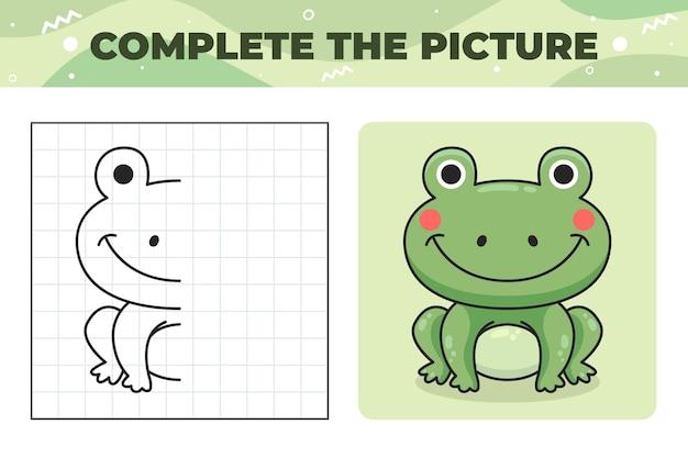 Завершите картинку-иллюстрацию с лягушкой