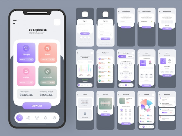 Complete ui and ux screens for a mobile app.