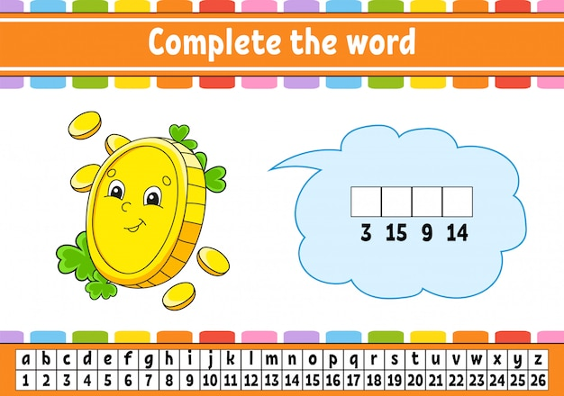 Complete the words. cipher code. gold coin. learning vocabulary and numbers.