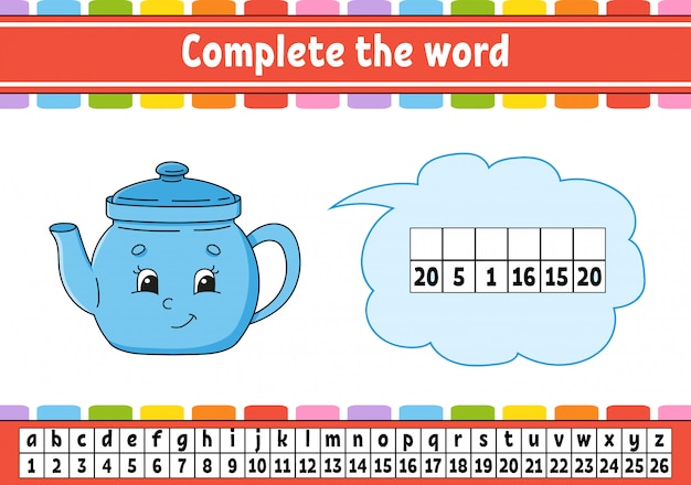 Complete the words. cipher code. learning vocabulary and numbers.