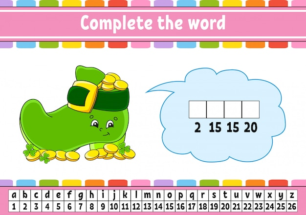 Complete the words. cipher code. leprechaun boot with coins.