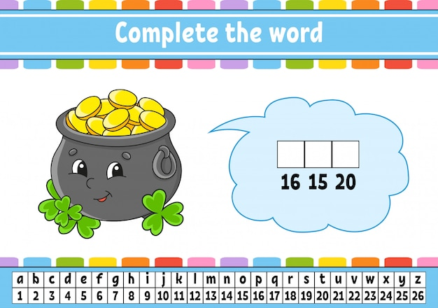 Complete the words. cipher code. pot of gold. learning vocabulary and numbers.