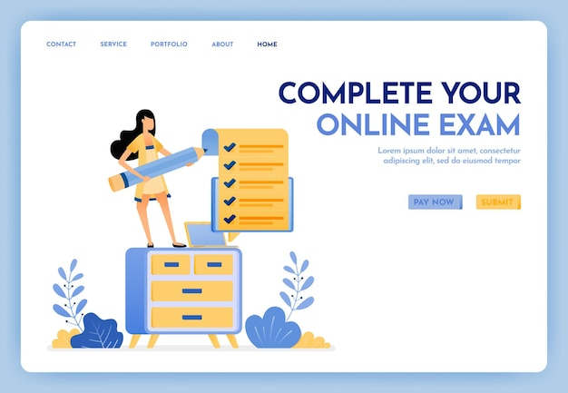 Complete your online exam landing page