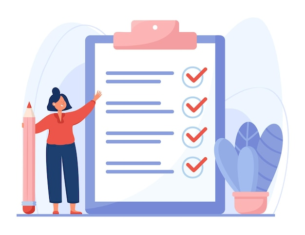 Completed checklist of cartoon woman flat illustration