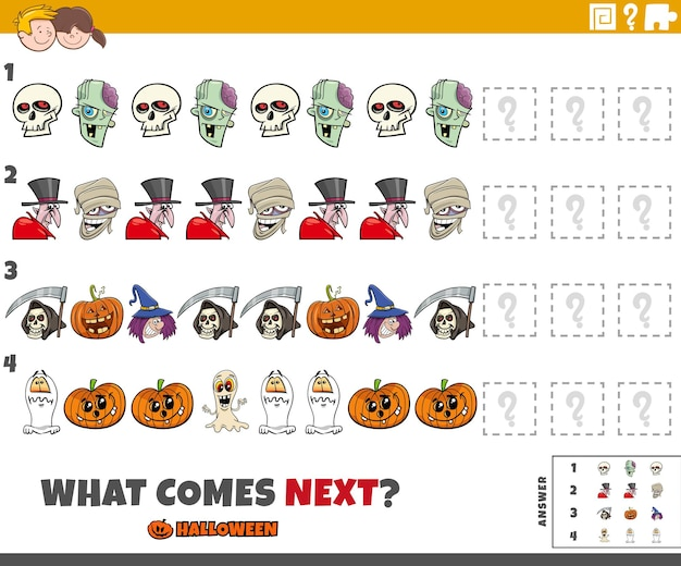 Completing the pattern educational game for children with spooky halloween characters