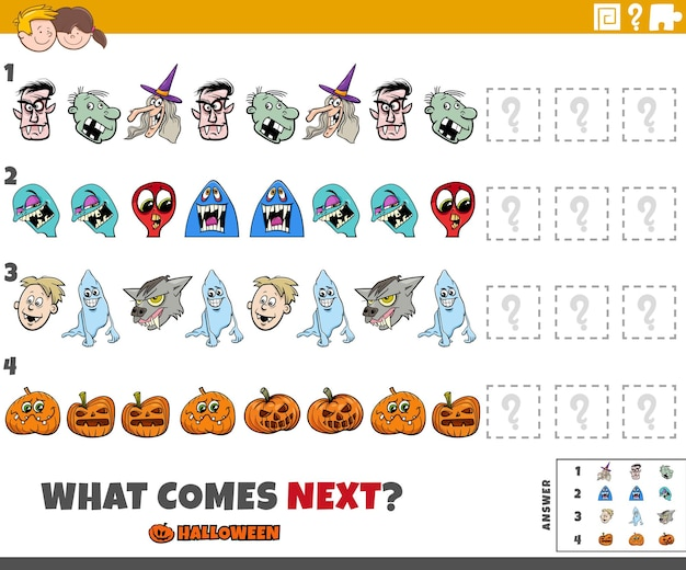 Completing the pattern educational game with cartoon halloween characters