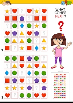 Completing the pattern in rows educational game