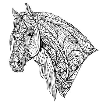 Сложная раскраска с лошадью
