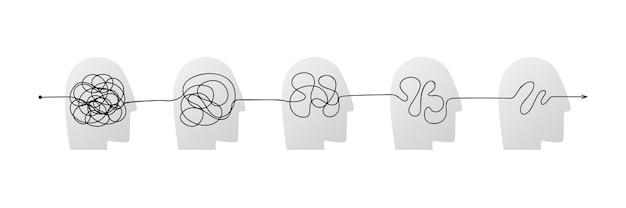 혼돈 해결의 개념으로 머리 아이콘의 복잡하고 지저분한 연결된 선. 마음의 문제를 단순화하는 과정. 단계적으로, 심리 치료 경로를 명확하게 하기 위한 혼란의 벡터 삽화. 프리미엄 벡터