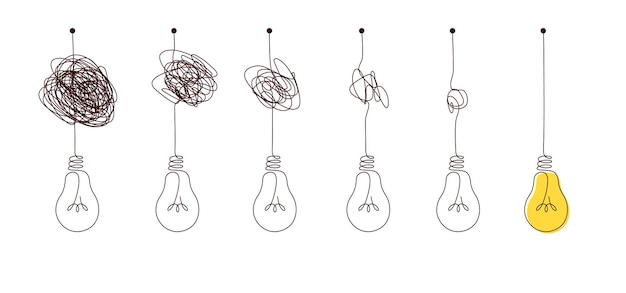 Complex to simple way to create idea - messy clew symbols with light bulb. scribble line knot from complicated to simplicity round elements, concept of transition from difficult to easy.