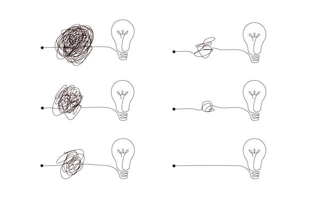 아이디어를 만드는 복잡하거나 간단한 방법 - 전구가 있는 지저분한 clew 기호.