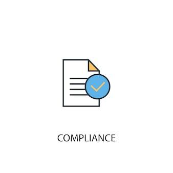 규정 준수 개념 2 컬러 라인 아이콘입니다. 간단한 노란색과 파란색 요소 그림입니다. 규정 준수 개념 개요 기호 디자인
