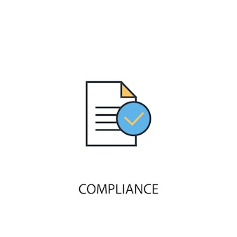 Compliance concept 2 colored line icon. simple yellow and blue element illustration. compliance concept outline symbol design