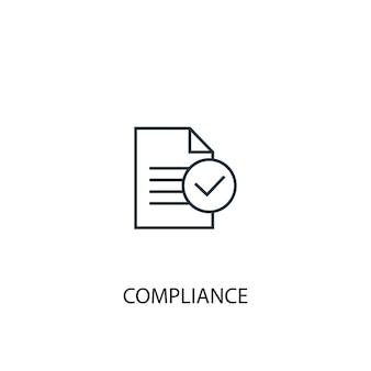 규정 준수 개념 라인 아이콘입니다. 간단한 요소 그림입니다. 규정 준수 개념 개요 기호 디자인입니다. 웹 및 모바일 ui/ux에 사용할 수 있습니다.