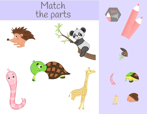 Compliance with children's educational game. match animal parts. find the missing parts.