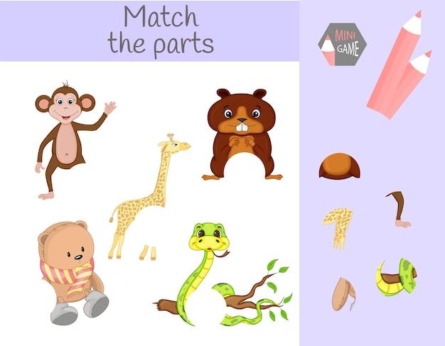 Соблюдение детской развивающей игры. подбирайте части животных. найдите недостающие части.