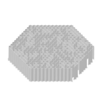 Complicated gray hexagon labyrinth in isometric view isolated on white