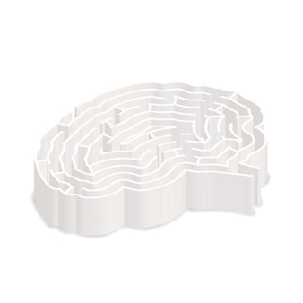 Complicated gray labyrinth in brain shape in isometric view isolated on white