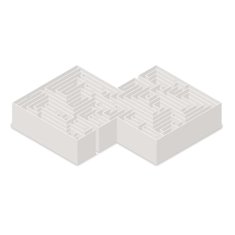 Сложный лабиринт в изометрической проекции, изолированные на белом фоне