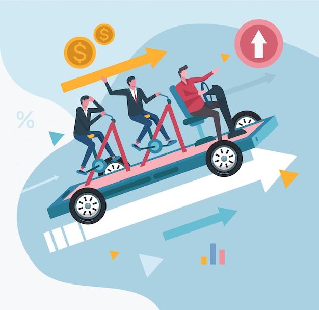 Compony目標概念図を達成するチームワークオフィスワーカー