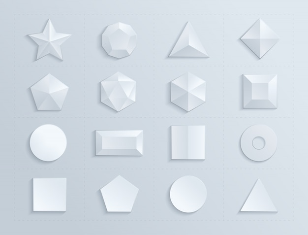 Composed geometric figures in white color