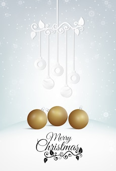 Composite image merry christmas, ball paper art style