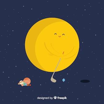 素敵な手描きの太陽系のcompositio